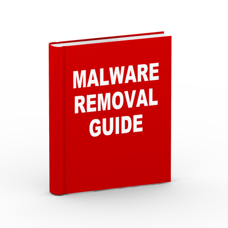 rootkit: 3d rendering of book of malware removal guide