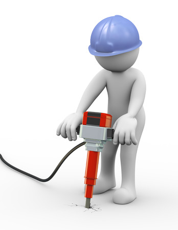 white man: 3d rendering of work man with helmet drilling and digging up concrete with power jackhammer. 3d white people man character