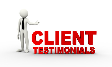 3d rendering of man presenting client testimonials concept. 3d white person people man.