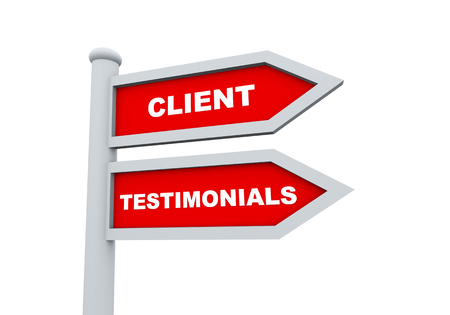 3d road sign of text client testimonials