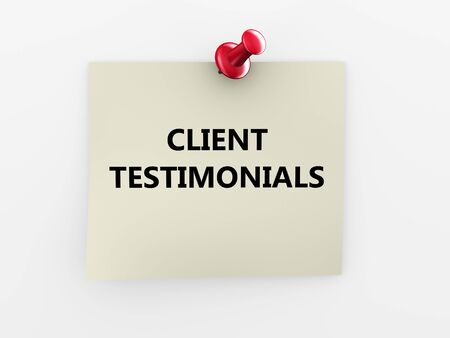 thumb tack: 3d render of red thumb tack and client testimonials paper