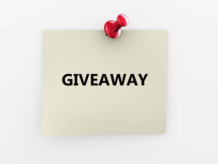 giveaway: 3d render of giveaway note paper and red thumbtack  Stock Photo
