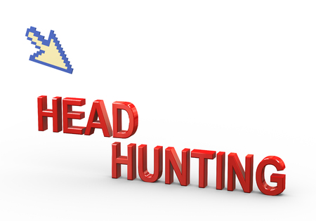 headhunting: 3d rendering of mouse pointer and word text headhunting Stock Photo