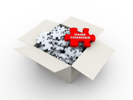 3d rendering of large red puzzle of game changer  top of heap of puzzle pieces in the box