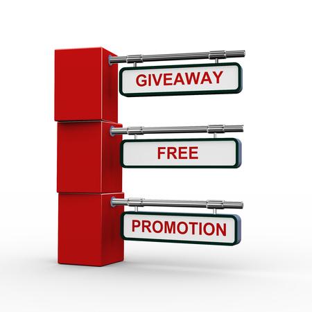 giveaway: 3d rendering of modern signpost presentation of giveaway promotion