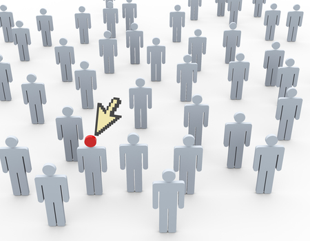 headhunting: 3d rendering of mouse cursor pointing to executive person. Concept of headhunting Stock Photo