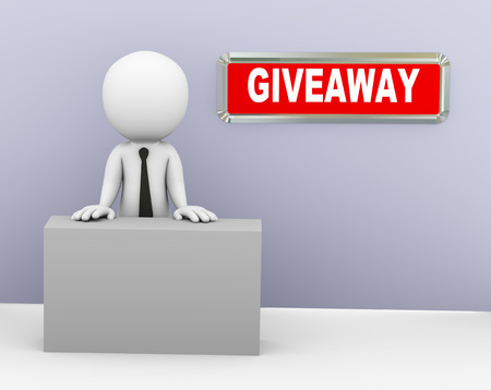 give away shop: 3d rendering of man offering free promotional giveaway. 3d white person people man
