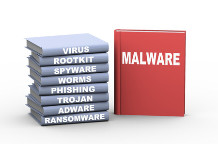 adware: 3d rendering of books showing different category of malware