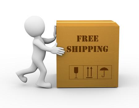 cardbox: 3d rendering of man pushing free cardbox shipment. 3d white person people man.