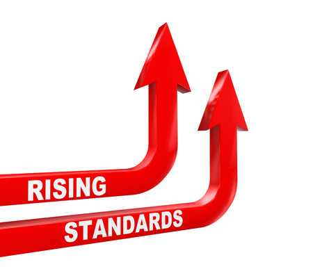 governing: 3d rendering of upward moving arrows with word text rising standards Stock Photo