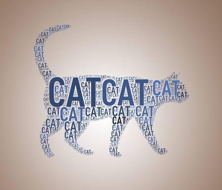 textcloud: Illustration of cat shape wordcloud wordtag Stock Photo