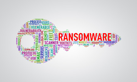 Illustration of key shape wordtags wordcloud of ransomware
