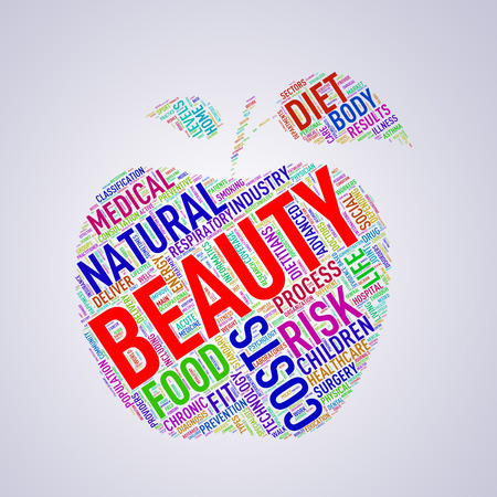 body shape: Illustration of healthy concept apple shape tags wordcloud of beauty