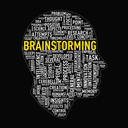 Illustration of human head face shape wordtags wordcloud of brainstorming