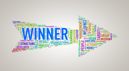 achievement: Illustration of arrow shape tags wordcloud of winner