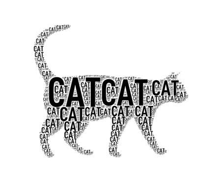 Illustration of black color cat shape wordcloud wordtag Stock Photo