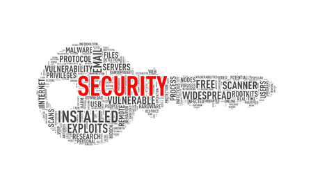 Illustration of key shape wordtags wordcloud of security