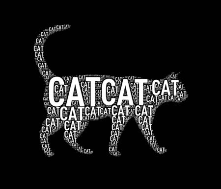 Illustration of cat shape wordcloud wordtag Stock Photo