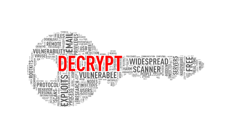 Illustration of key shape wordtags wordcloud of decrypt