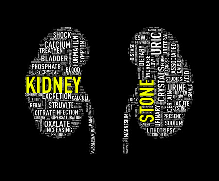 Illustration of kidney shape wordcloud word tags presenting kidney stone diseases Stock Photo