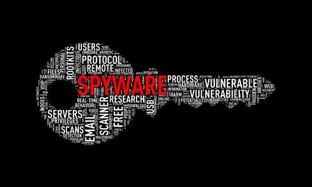 spyware: Illustration of key shape wordtags wordcloud of spyware
