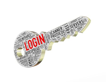 malware: 3d rendering of login wordtags wordcloud key