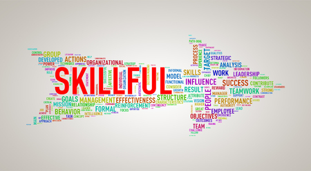 commander: Illustration of arrow shape tags wordcloud of skillful