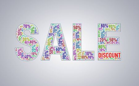 special event: Illustration of special percentage sale shape discount wordcloud wordtag