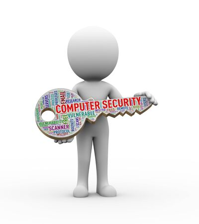 man: 3d rendering of man holding computer security key tag wordcloud. concept of cyber security