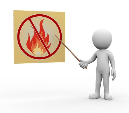 no person: 3d rendering of explaining man pointing with stick presentation of no fire flame. white person people illustration Stock Photo