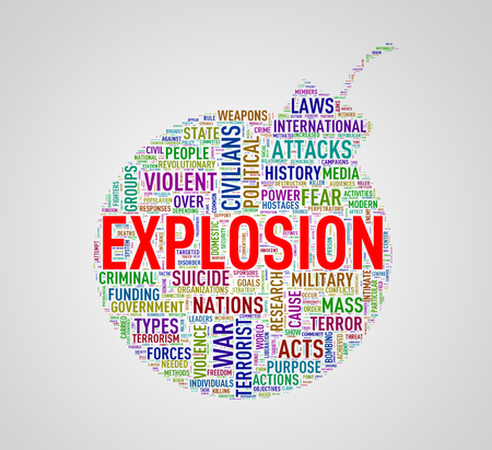 Illustration of bomb shape tags wordcloud of concept explosion Stock Photo
