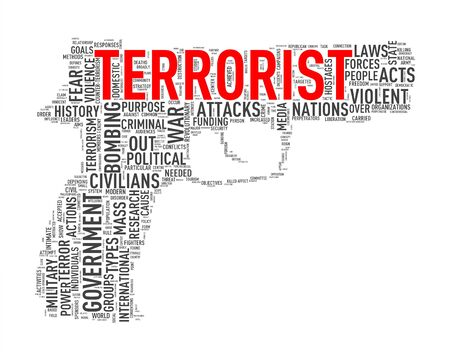 discord: Illustration of pistol shape tags wordcloud of concept terrorist