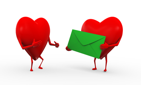 3d rendering of fun walking of hearts holding each other hands. concept of love, friendship, valentine, joy, fun