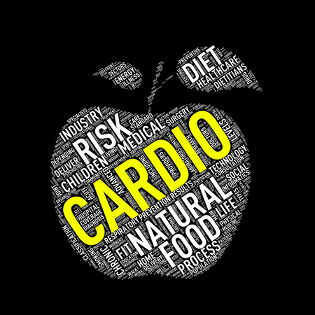 Illustration of healthy concept apple shape tags wordcloud of cardio