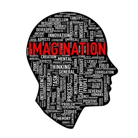 human face: Illustration of human head face shape word tags wordcloud of imagination Stock Photo