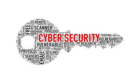 Illustration of key shape wordtags wordcloud of cyber security Stock Photo