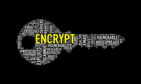 Illustration of key shape wordtags wordcloud of encrypt Stock Photo