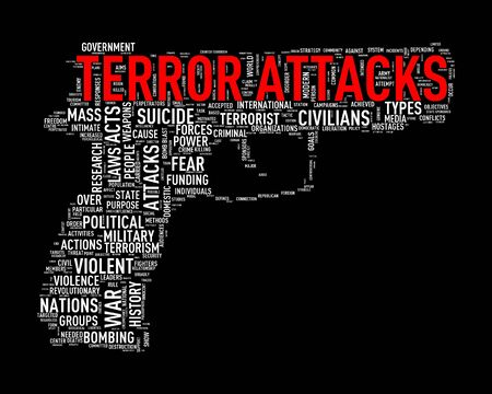 discord: Illustration of pistol shape tags wordcloud of concept terror attacks