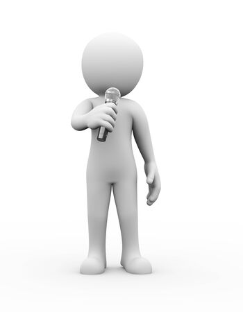 persons: 3d rendering of talking man holding wireless microphone. Illustration of white person people
