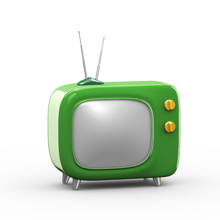 3d rendering of green stylish cartoon television tv set with knob Stock Photo