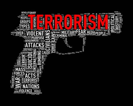 discord: Illustration of pistol shape tags wordcloud of concept terrorism Stock Photo