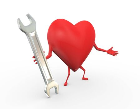 3d rendering of heart holding tool wrench