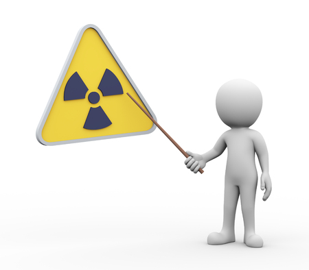 symbols: 3d rendering of explaining man pointing with stick presentation of radioactive radiation symbol. white person people illustration Stock Photo