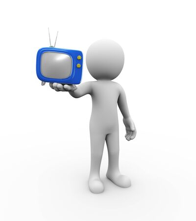 3d rendering of man holding stylish cartoon television tv set on his hand. white person people Stock Photo