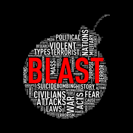 discord: Illustration of bomb shape tags wordcloud of concept blast Stock Photo