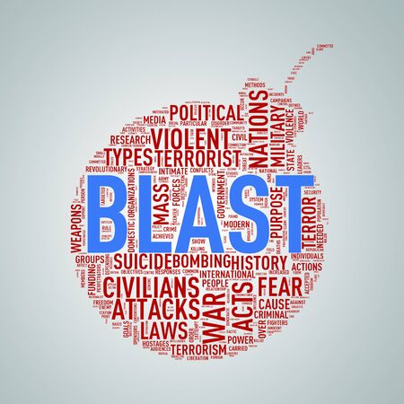 Illustration of bomb shape tags wordcloud of concept blast Stock Photo