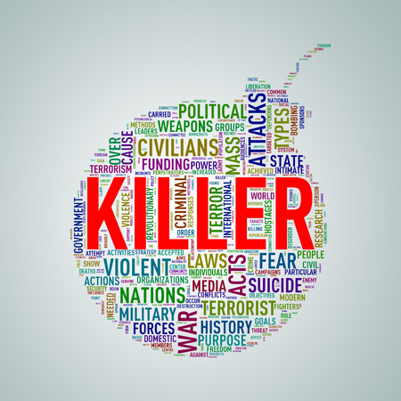 discord: Illustration of bomb shape tags wordcloud of concept killer