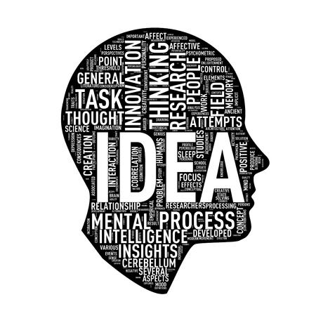 アイデアの形 wordtags wordcloud に直面する頭部のイラスト
