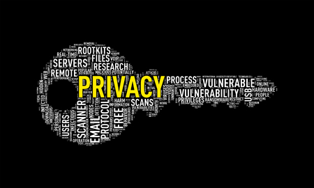 decrypt: Illustration of key shape wordtags wordcloud of privacy