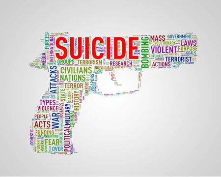 discord: Illustration of pistol shape tags wordcloud of concept suicide